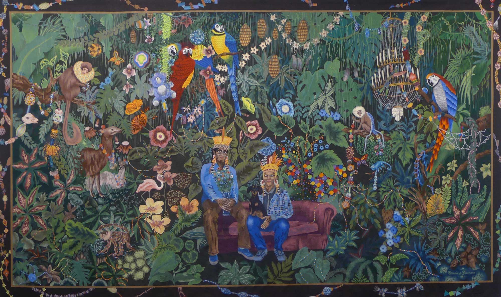 tapisserie la famille dans la joyeuse verdure - Aubusson